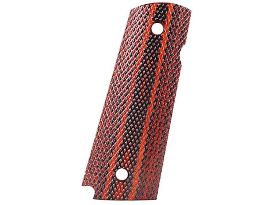 Cylinder & Slide Grips 1911 Government, Commander Checkered Dymondwood Red/Black
