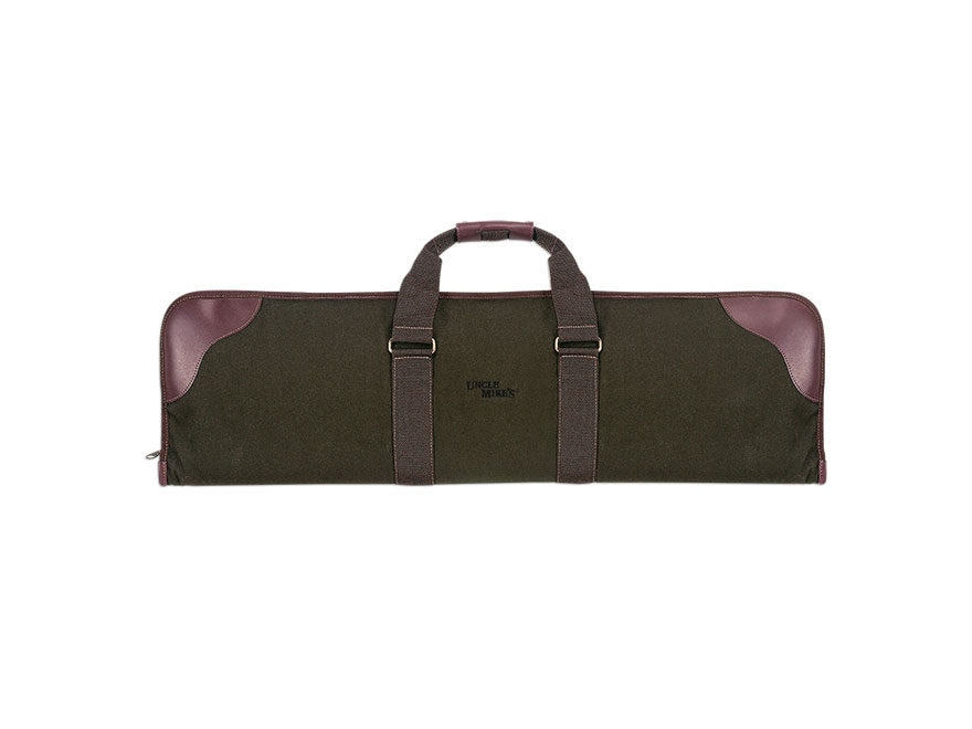 "Uncle Mike's Over and Under Shotgun Case 33- 1/2"" Polyester Twill Green and Leather Brown"