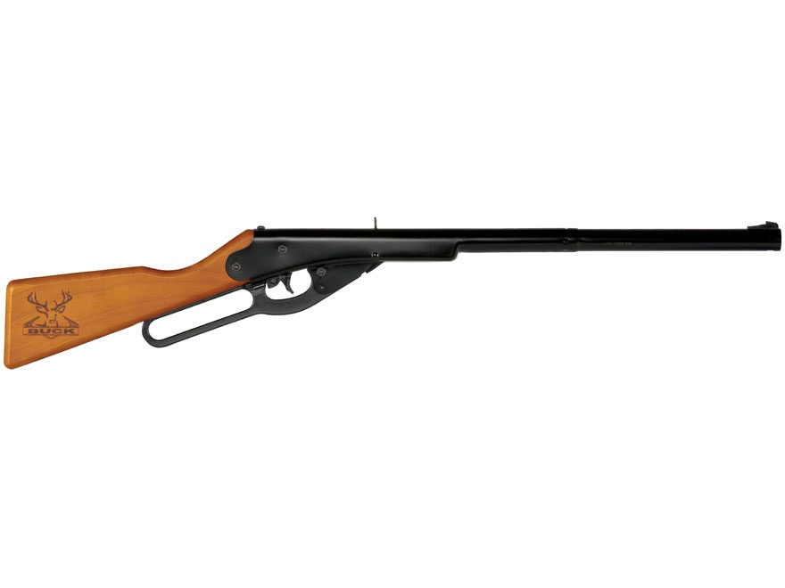 Daisy Buck BB Youth Lever Action Air Rifle 177 Caliber BB Wood Stock Blue Barrel