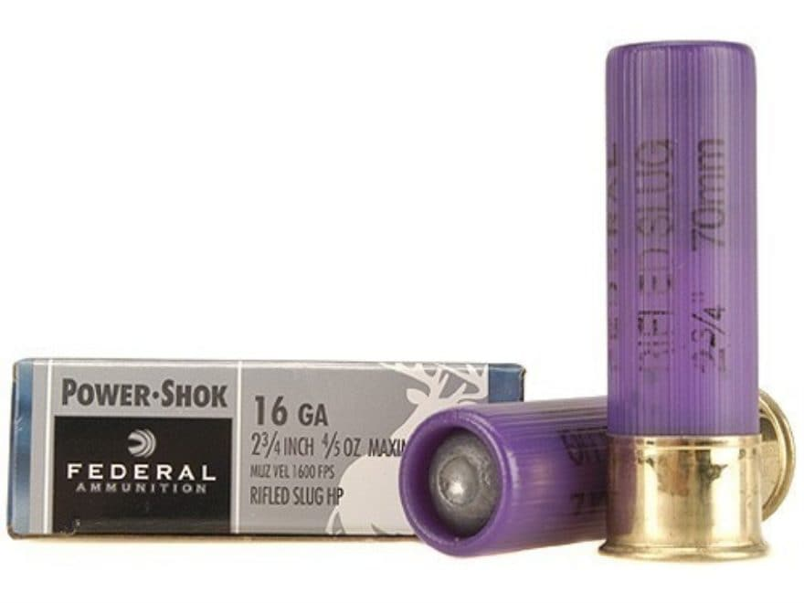 "Federal Power-Shok Ammunition 16 Gauge 2-3/4"" 4/5 oz Hollow Point Rifled Slug Box of 5"