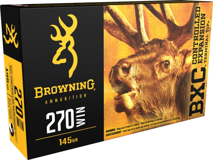 Browning BXC Controlled Expansion Ammunition 270 Winchester 145 Grain Terminal Tip Box ...