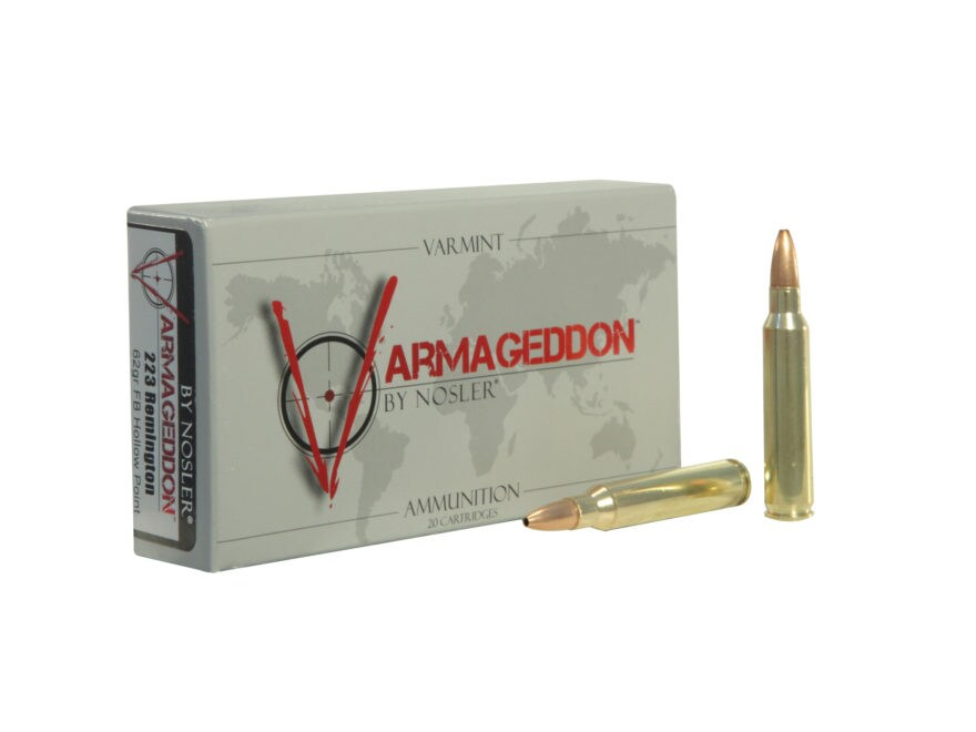 Nosler Varmageddon Ammunition 223 Remington 62 Grain Hollow Point Flat Base Box of 20
