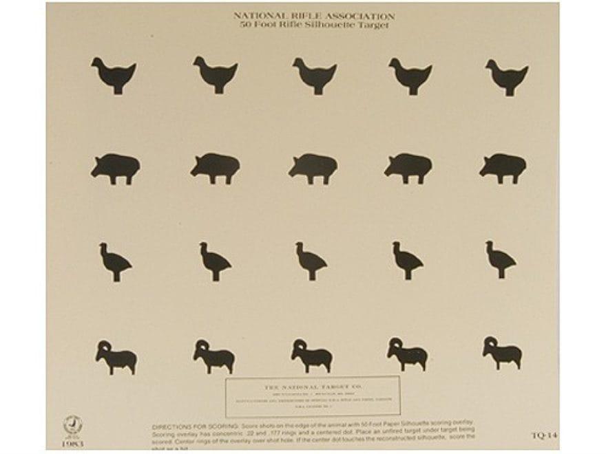 NRA Official Smallbore Rifle Training Targets TQ-14 50' Chickens, Pigs, Turkeys, Rams R...