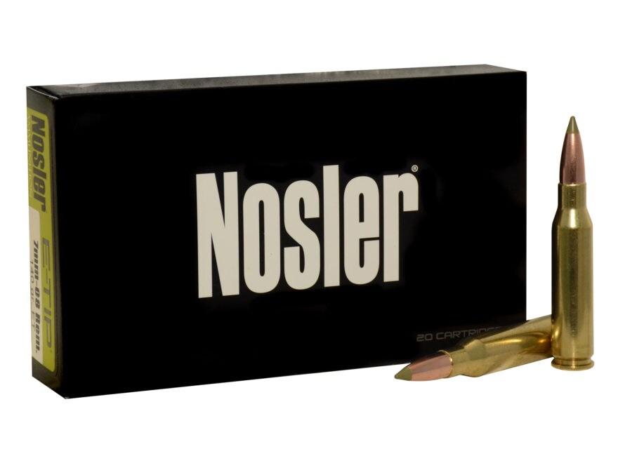 Nosler E-Tip Ammunition 7mm-08 Remington 140 Grain E-Tip Lead-Free Box of 20