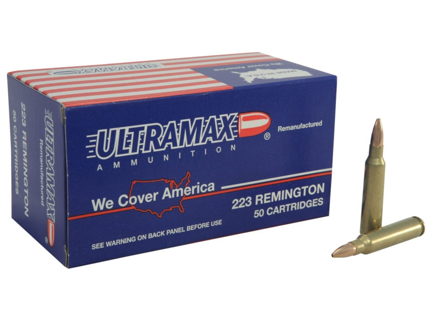 Ultramax Remanufactured Ammunition 223 Remington 52 Grain Jacketed Hollow Point Box of 50