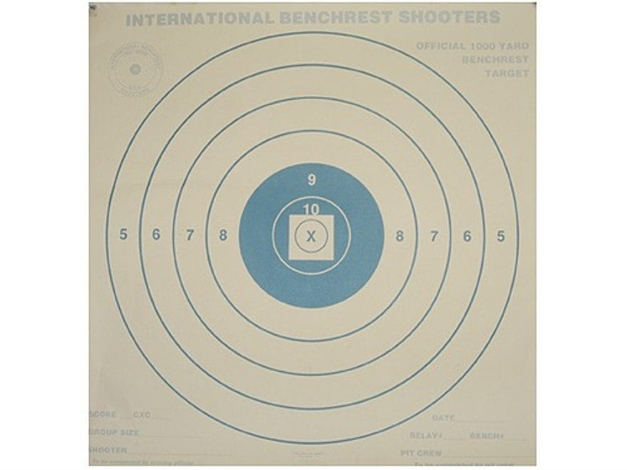 National Target International Bench Rest Shooters Target IBS 1000 YD Bench Rest Paper P...