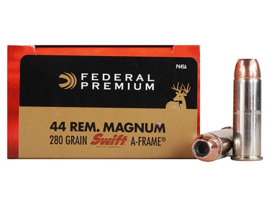 Federal Premium Vital-Shok Ammunition 44 Remington Magnum 280 Grain Swift A-Frame Jacke...