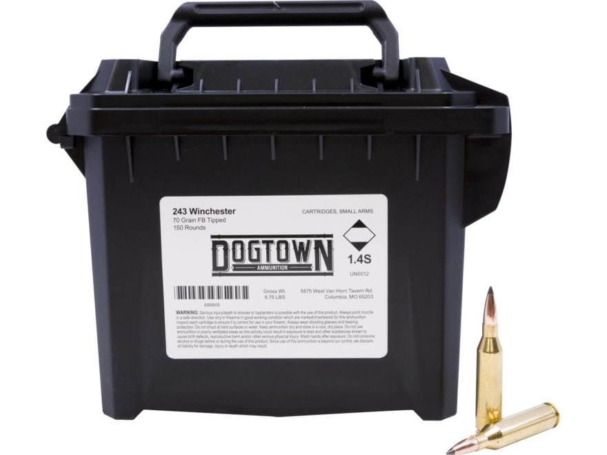 Dogtown Ammunition 243 Winchester 70 Grain Tipped Flat Base