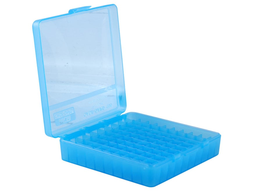 MTM Flip-Top Ammo Box 22 Long Rifle, 25 ACP 100-Round Plastic Clear Blue