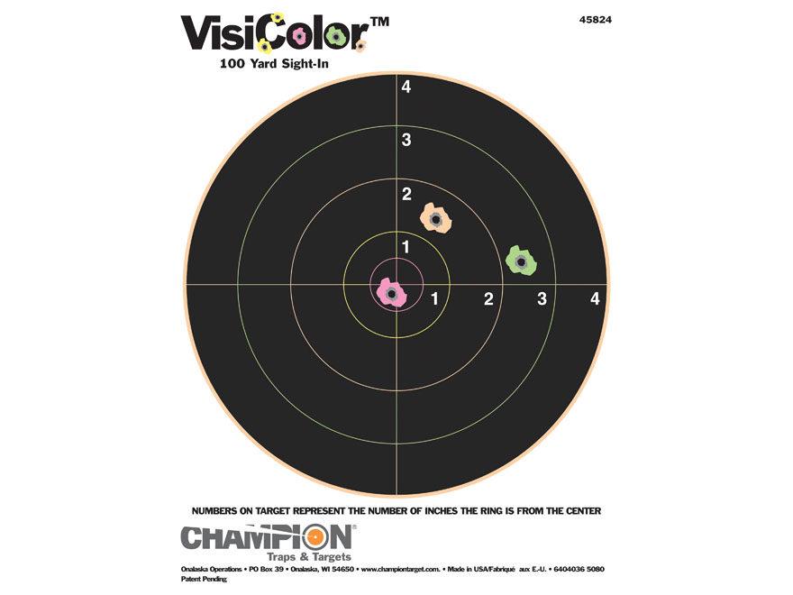 "Champion VisiColor 8"" Bullseye Target 8.5"" x 11"" Paper"
