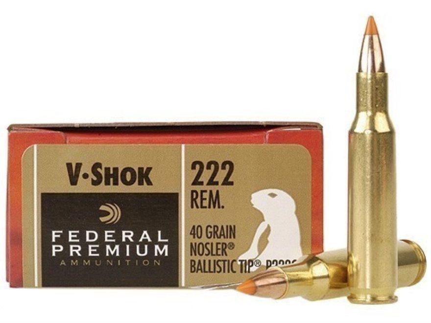 Federal Premium V-Shok Ammunition 222 Remington 40 Grain Nosler Ballistic Tip Varmint S...