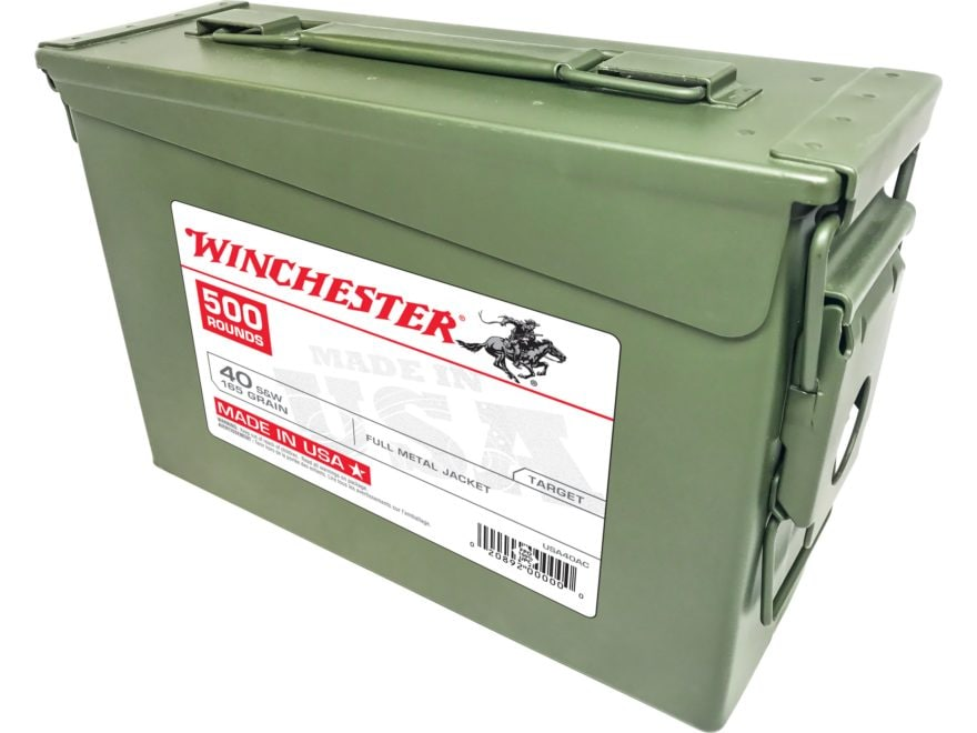 Winchester USA Ammunition 40 S&W 165 Grain Full Metal Jacket Ammo Can of 500