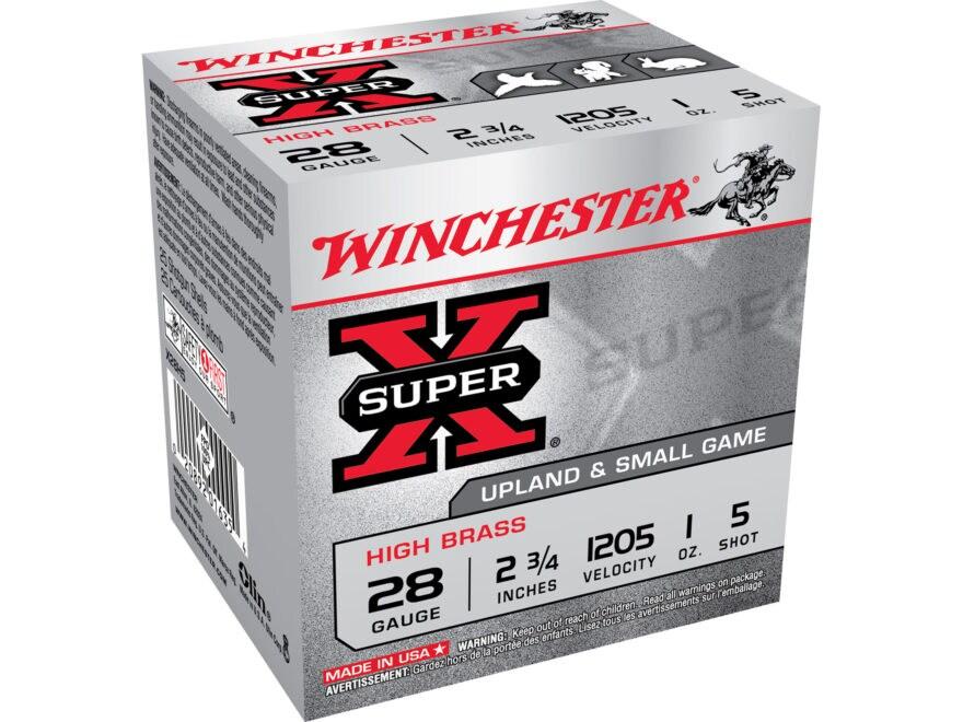 """Winchester Super-X High Brass Ammunition 28 Gauge 2-3/4"""" 1 oz #5 Shot"""