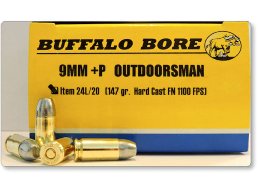 Buffalo Bore Ammo Outdoorsman 9mm Luger P 147 Grain Hard Cast Lead