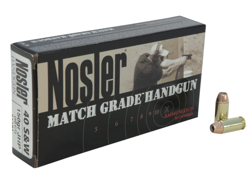 Nosler Match Grade Ammunition 40 S&W 150 Grain Jacketed Hollow Point