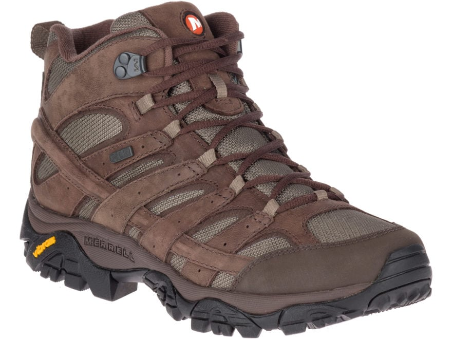 "Merrell Moab 2 Smooth Mid 5"" Waterproof Hiking Boots Leather/Nylon Men's"