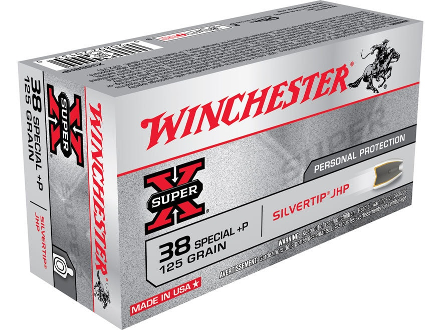 Winchester Super-X Ammunition 38 Special +P 125 Grain Silvertip Hollow Point