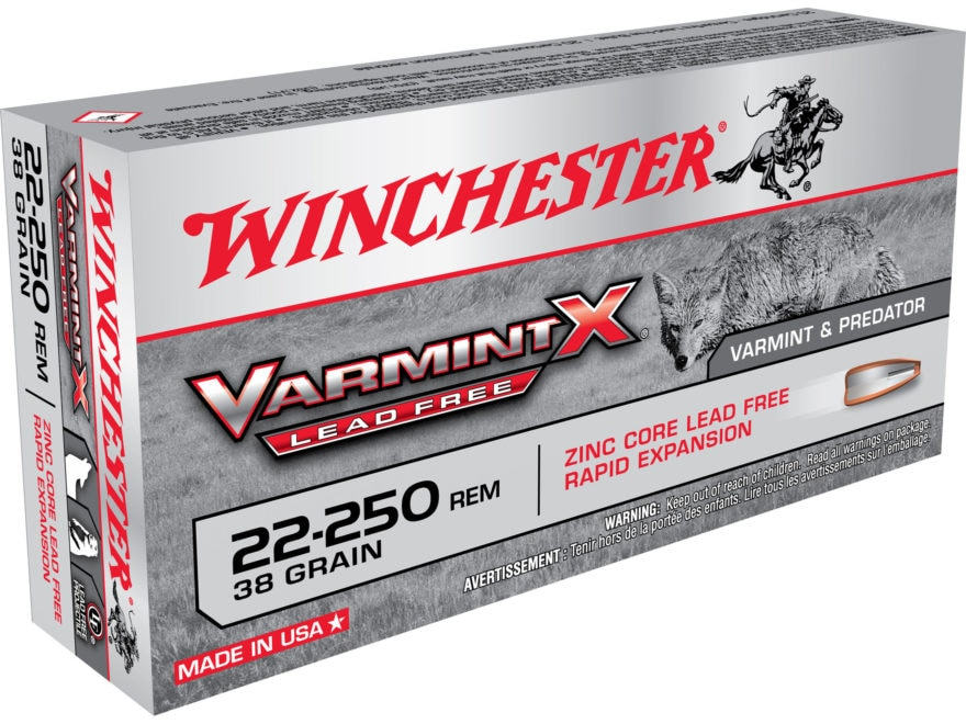 Winchester Varmint X Ammunition 22-250 Remington 38 Grain Hollow Point Lead-Free