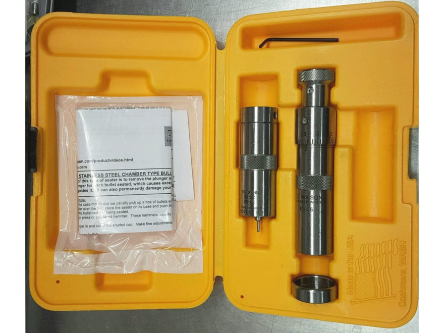 L.E Wilson Stainless Steel Bushing Neck Sizer Die Set with Micrometer Top Bullet Seater