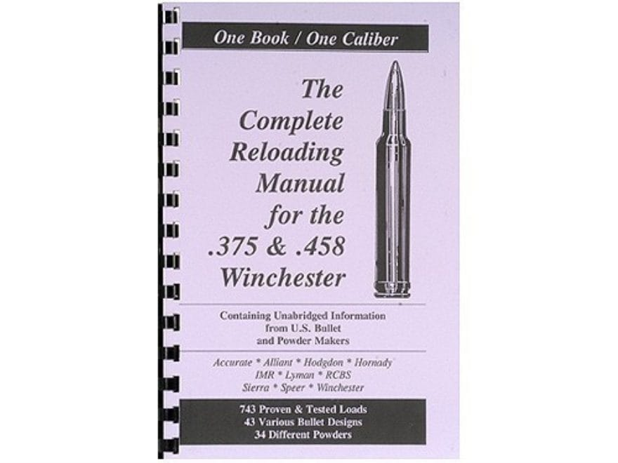 """Loadbooks USA """"375 and 458 Winchester"""" Reloading Manual"""