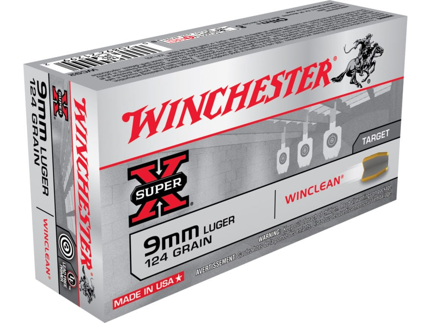Winchester WinClean Ammunition 9mm Luger 124 Grain Brass Enclosed Base