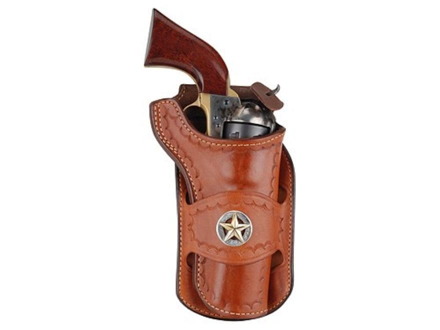 Ross Leather Classic Belt Holster with Tooling and Conchos Crossdraw