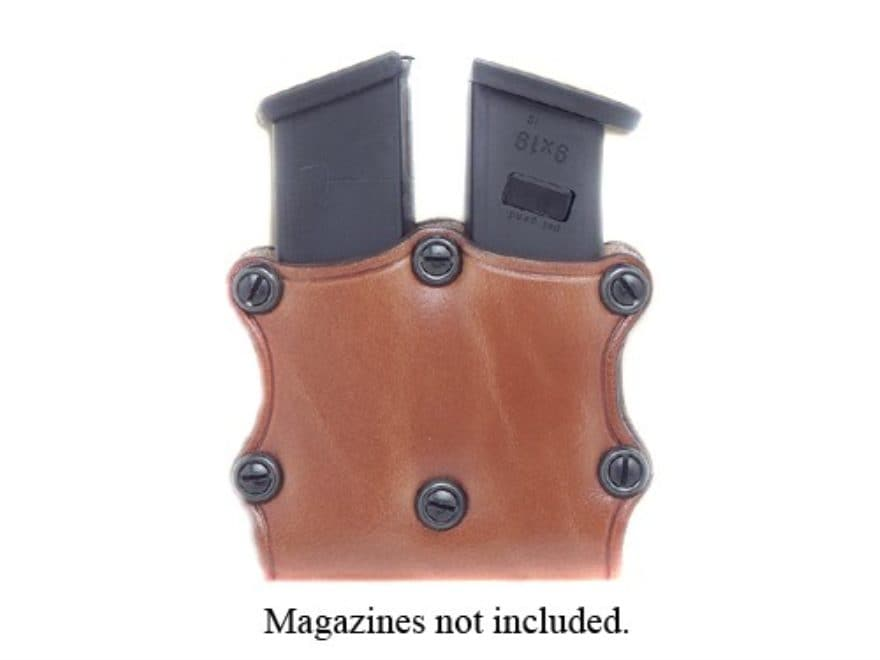 Hunter 5600 Pro-Hide Double Magazine Pouch Open Top Single-Stack Magazine Leather Brown