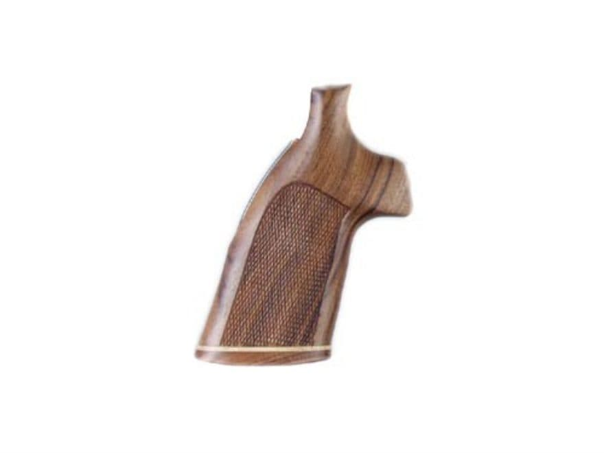 Hogue Fancy Hardwood Grips with Accent Stripe S&W K, L-Frame Round Butt Checkered