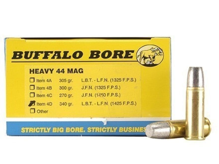 Buffalo Bore Ammunition 44 Remington Magnum +P+ 340 Grain Lead Flat Nose Gas Check Box ...