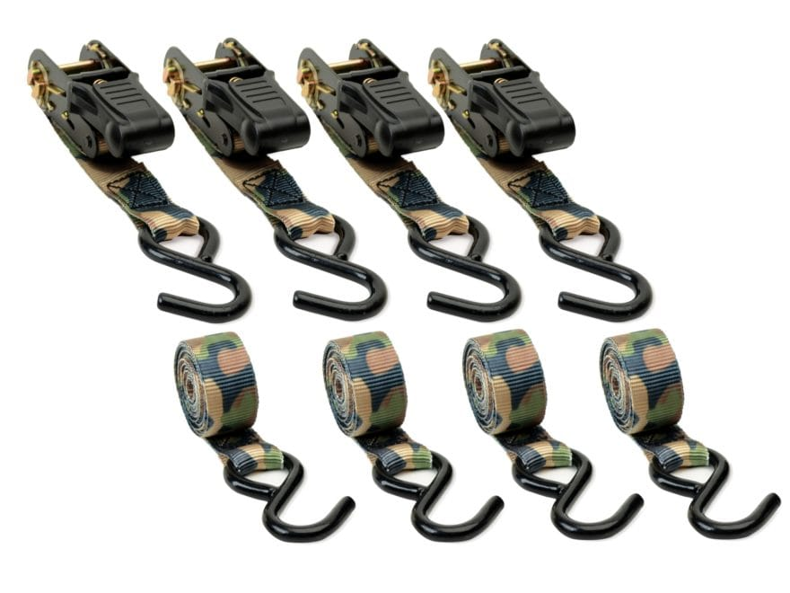 HME Camouflage Ratchet Strap Tie Down 4 Pack