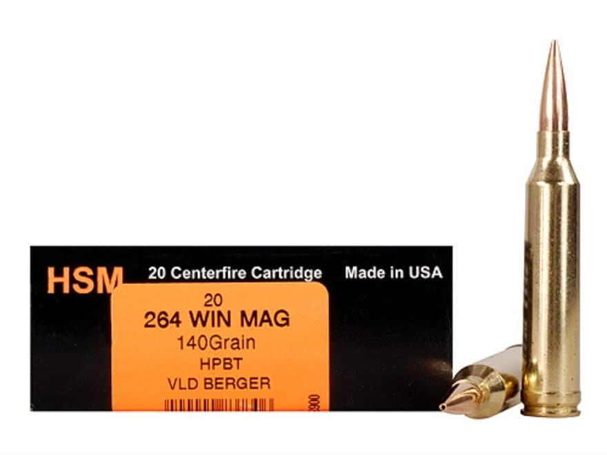 HSM Trophy Gold Ammunition 264 Winchester Magnum 140 Grain Berger Hunting VLD Hollow Po...