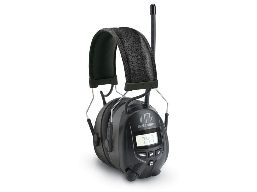 Walker's Passive Digital AM/FM Radio Earmuffs (NRR 25dB) Black