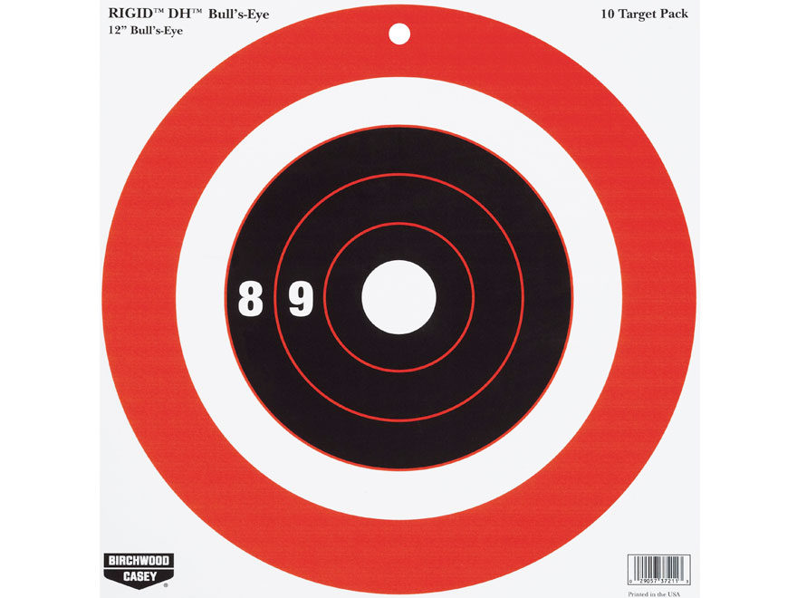 "Birchwood Casey Rigid 12"" Bullseye DH Tagboard Target Package of 10"