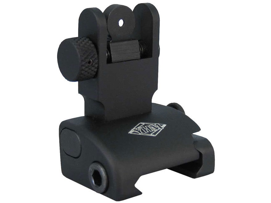 Yankee Hill Machine QDS Quick Deploy Flip-Up Rear Sight Dual Aperture AR-15 Flat-Top Al...