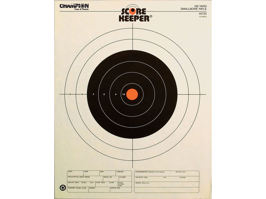 "Champion Score Keeper 100 Yard Small Bore Rifle Targets 14"" x 18"" Paper Orange Bull Pac..."