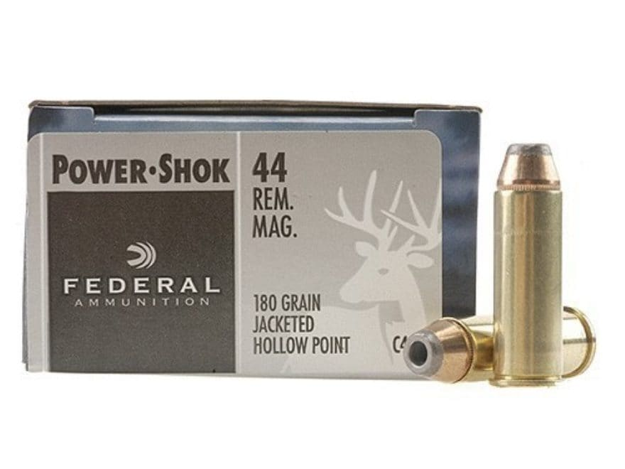 Federal Power-Shok Ammunition 44 Remington Magnum 180 Grain Jacketed Hollow Point