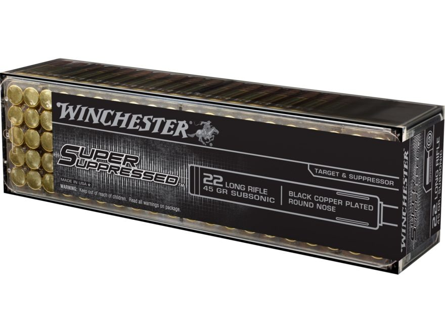 Winchester Super Suppressed Ammunition 22 Long Rifle Subsonic 45 Grain Lead Round Nose