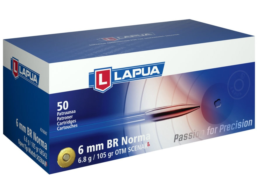 Lapua Scenar-L Ammunition 6mm Norma BR (Bench Rest) 105 Grain Hollow Point Boat Tail Bo...