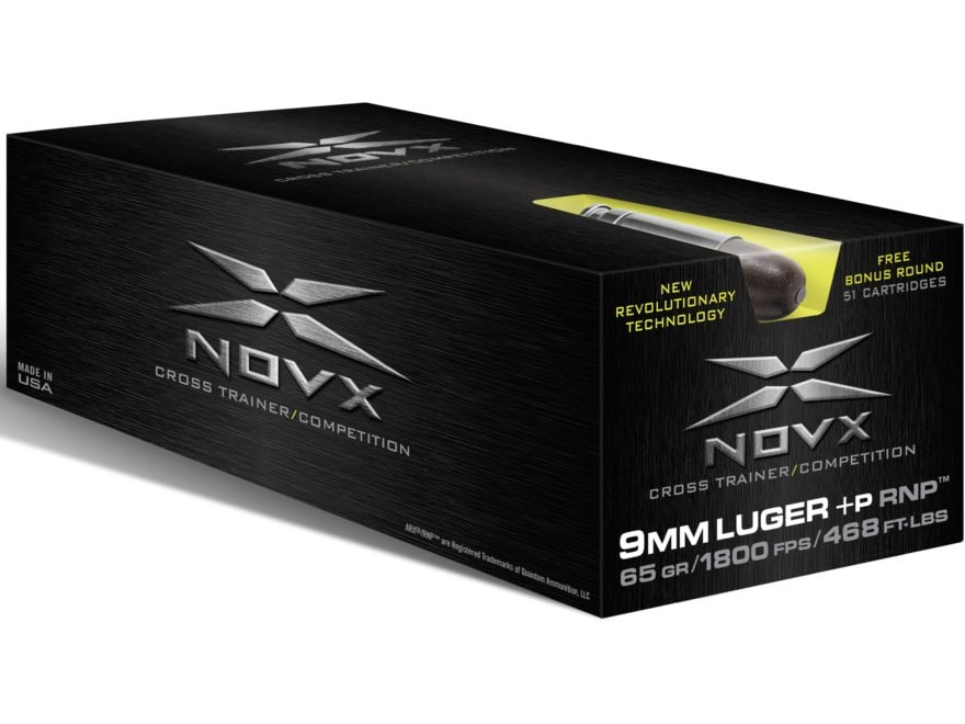 NovX Cross Trainer/Competition Ammunition 9mm Luger +P 65 Grain RNP Lead-Free