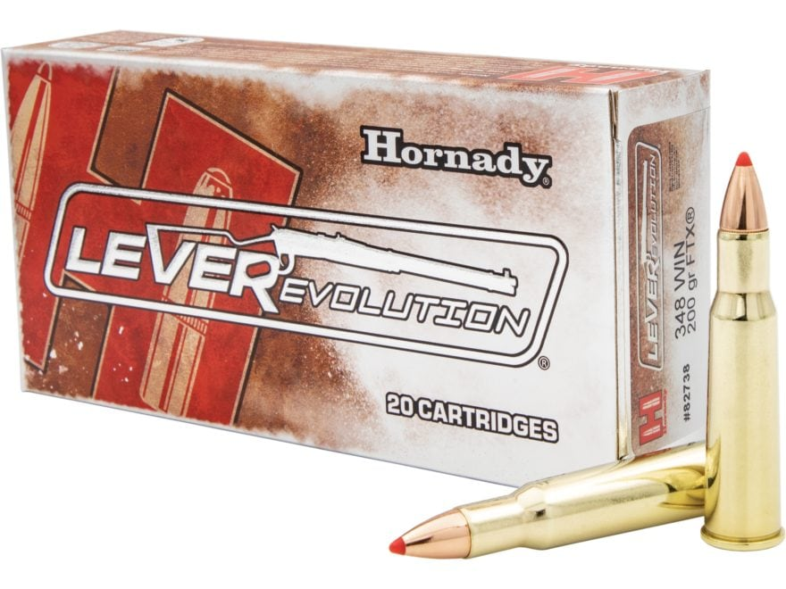 Hornady LEVERevolution Ammunition 348 Winchester 200 Grain Flex Tip eXpanding Box of 20