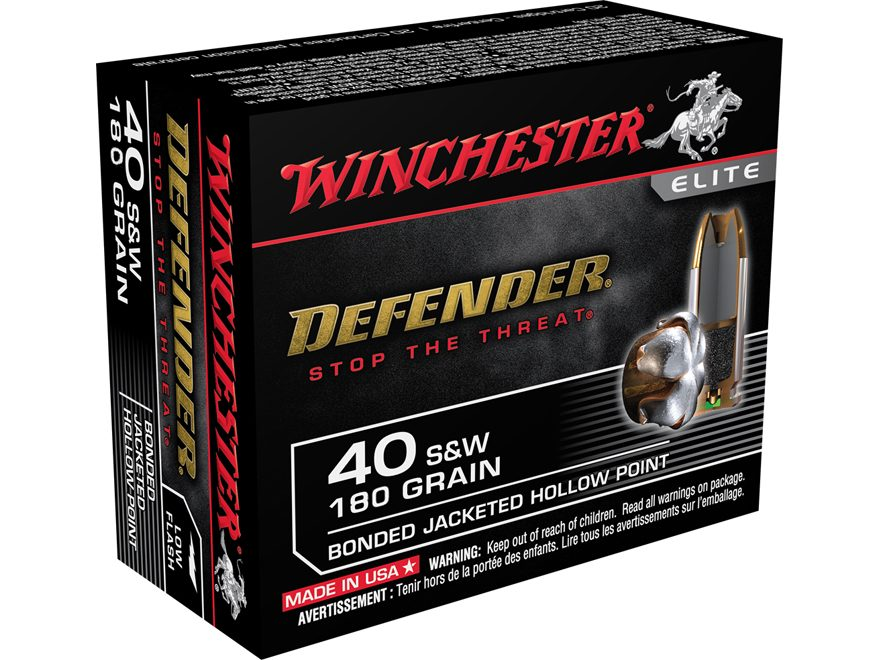 Winchester PDX1 Defender Ammunition 40 S&W 180 Grain Bonded Jacketed Hollow Point Box o...