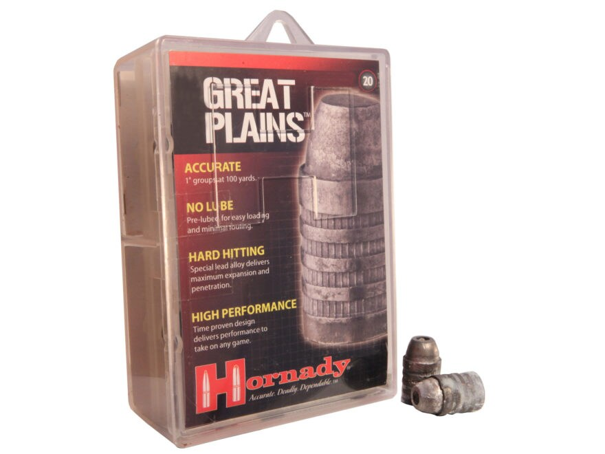 Hornady Great Plains Muzzleloading Bullets 54 Caliber 425 Grain Lead Hollow Point Box o...