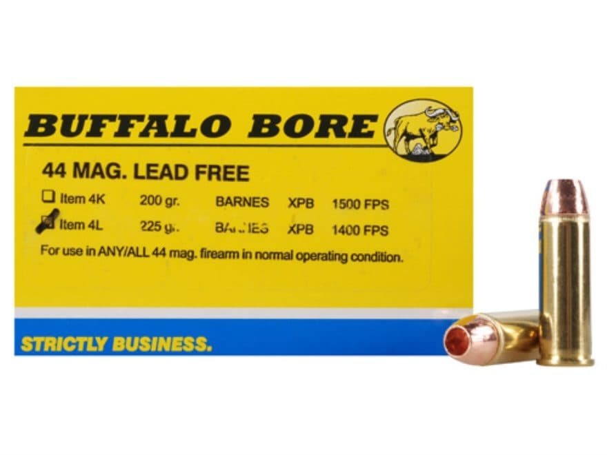 Buffalo Bore Ammunition 44 Remington Magnum 225 Grain Barnes XPB Hollow Point Lead-Free...