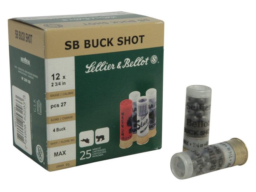 """Sellier & Bellot Ammunition 12 Gauge 2-3/4"""" #4 Buckshot 27 Pellets"""