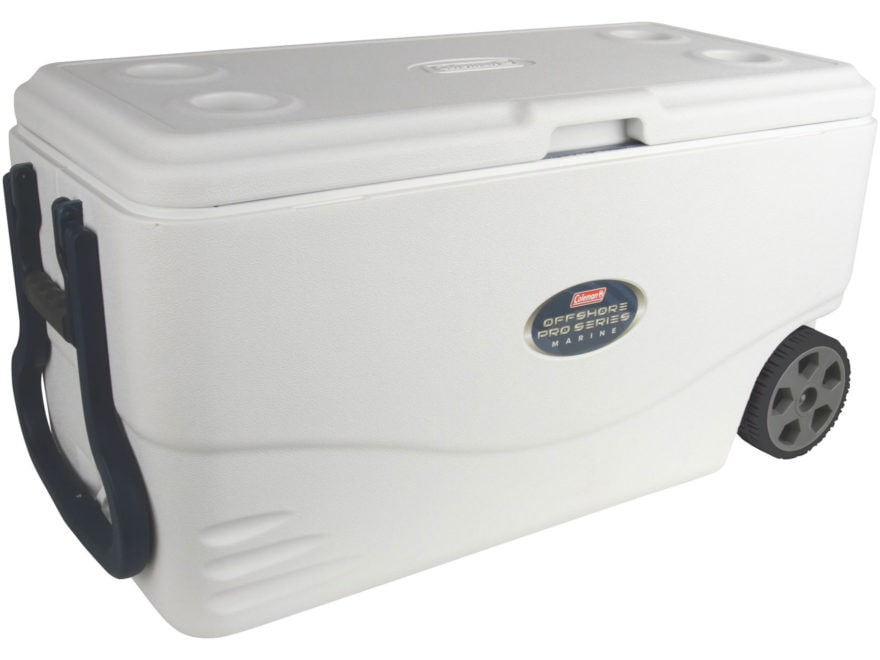 Coleman Offshore Pro Series Marine Wheeled 82 Qt Polymer Cooler White