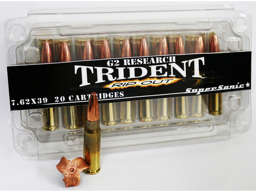 G2 Research RIP-OUT Trident Ammunition 7.62x39mm 124 Grain Expanding Solid Copper Lead-...