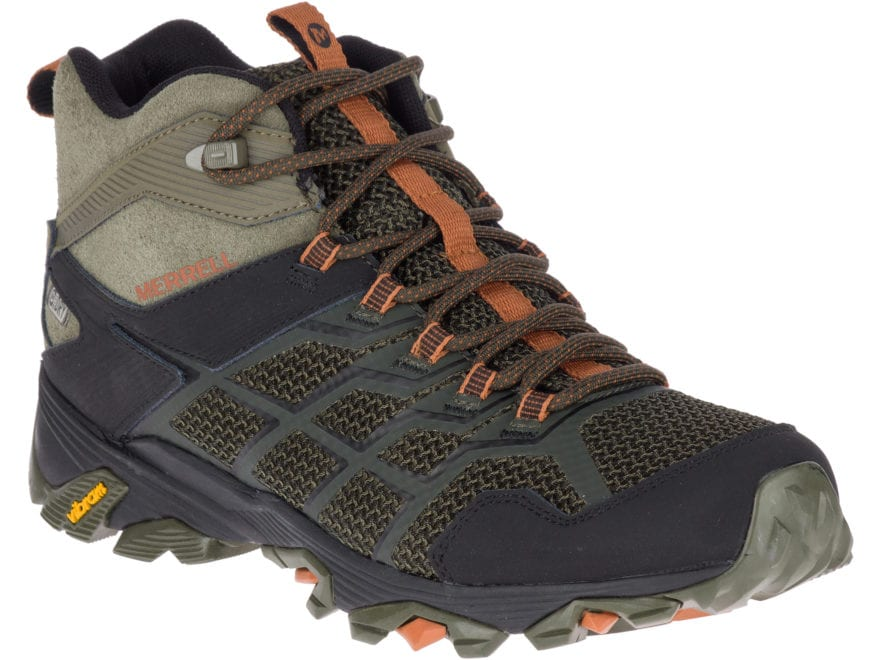"""Merrell Moab FST 2 Mid 5"""" Waterproof Hiking Boots Leather/Synthetic Men's"""