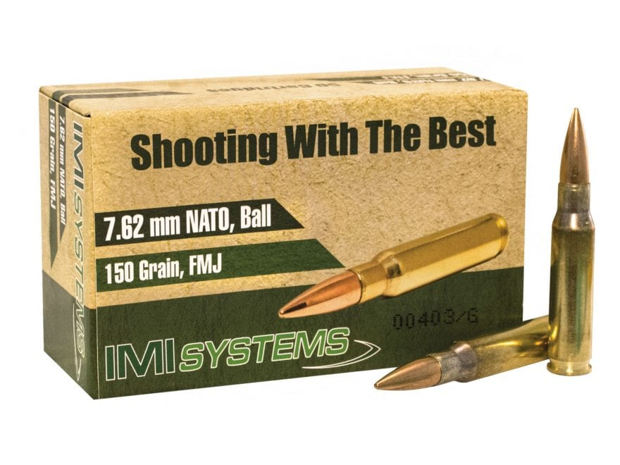 IMI Ammunition 7.62x51mm NATO 150 Grain Full Metal Jacket Box of 250 (5 Boxes of 50)