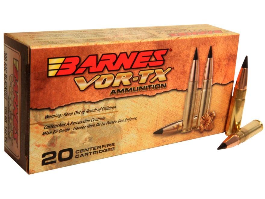 Barnes VOR-TX Ammunition 300 AAC Blackout 120 Grain TAC-TX Polymer Tipped Spitzer Flat ...