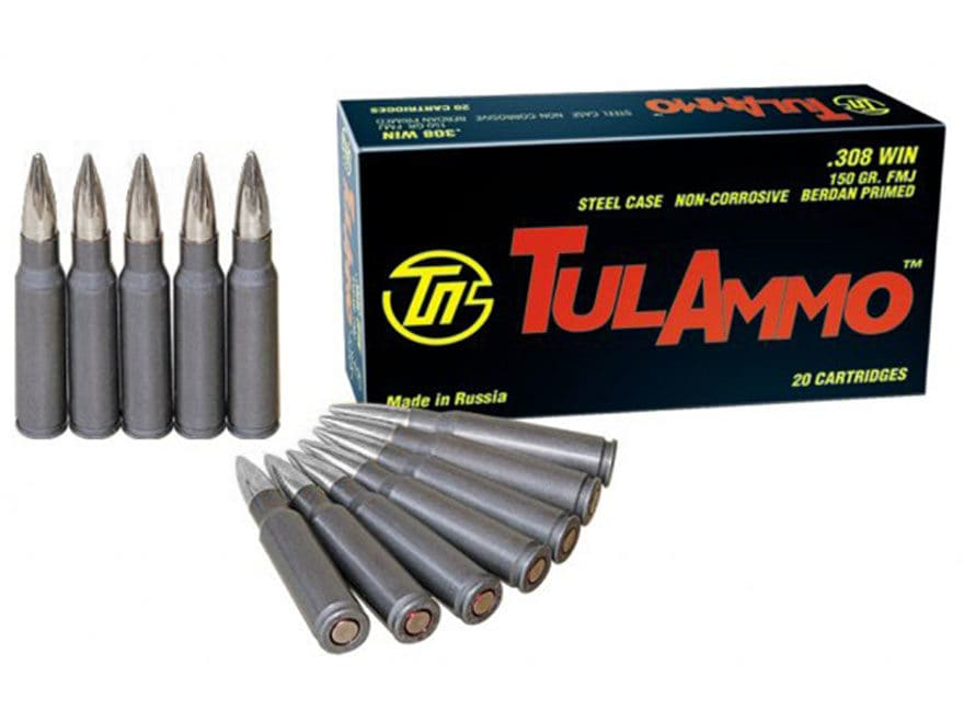 TulAmmo Ammunition 308 Winchester 150 Grain Full Metal Jacket (Bi-Metal) Steel Case Ber...